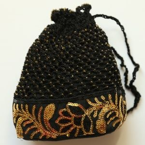 NWT Beaded Crochet Black Sequin drawstring Bag